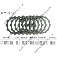 Съединител NHC 152x116x3 -7бр. 150x120x3.5 -1бр. 12 зъба CD3357 R Friction Paper к. 14-216