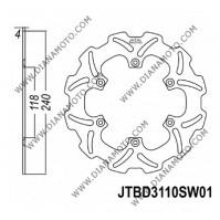 Спирачен диск заден Suzuki RM 125 - 250 99-05 ф 240x118x4.0 мм 6 болта JT 3110 к. 9010