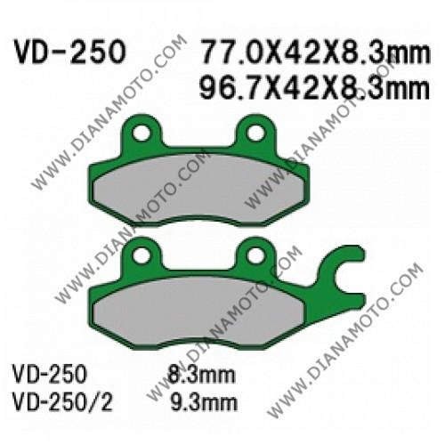 Накладки VD 250/2 EBC FA197 FA215/2 FERODO FDB2087 FDB2142 NHC H1052 AK150 Органични к. 14-16