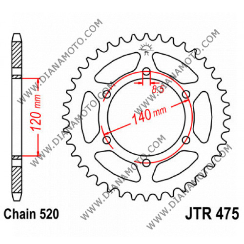 Зъбчатка задна JTR 475 - 44 к. 7192