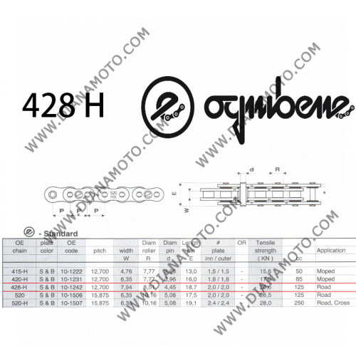 Верига Ognibene 428 H SB - 130L к. 41-45