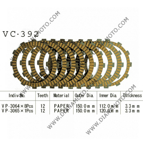 Съединител  NHC 150x112x3.3 - 8 бр. 150x120x3.3 - 1 бр. 12 зъба CD3428 R Friction Paper к. 14-224
