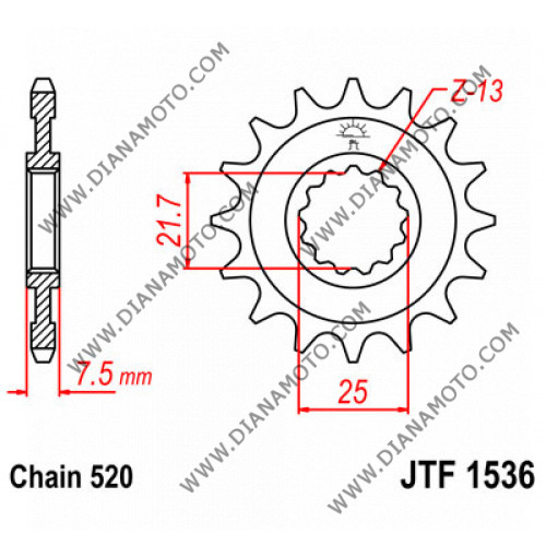 Зъбчатка предна JTF 1536 - 14 к. 7715