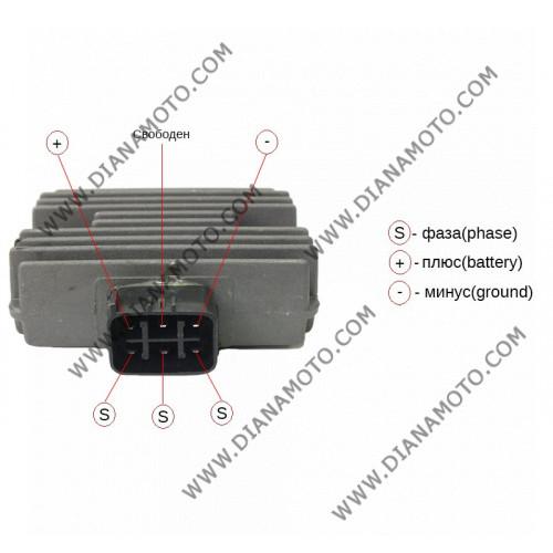Реле зареждане YAMAHA Dragstar 125-250-1100 Majesty 250-400 MT-03 R6 T-MAX 500 Versity X-MAX 250 6 пина равно на код RMS 246030222 к. 8373