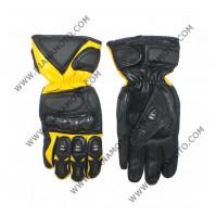 Ръкавици MBG 004 Кожа черно-жълти дамски M к. 4188