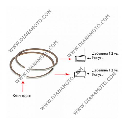 Сегменти 47.00 мм 1.2 конус + 1.2 конус ключ горен 2T равни на код RMS 100100210 к.6028
