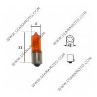 Крушка за мигачи 12V/21W H21 BA9S оражева 120 градуса к. 7596