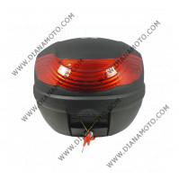 Куфар Pilot 32 литра черен с червен рефлектор и облегалка к. 7591