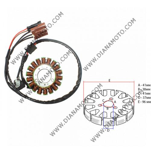 Статор Aprilia Scarabeo 400-500 бобини 18 ф 96 равен на код RMS 246350122 к. 9518